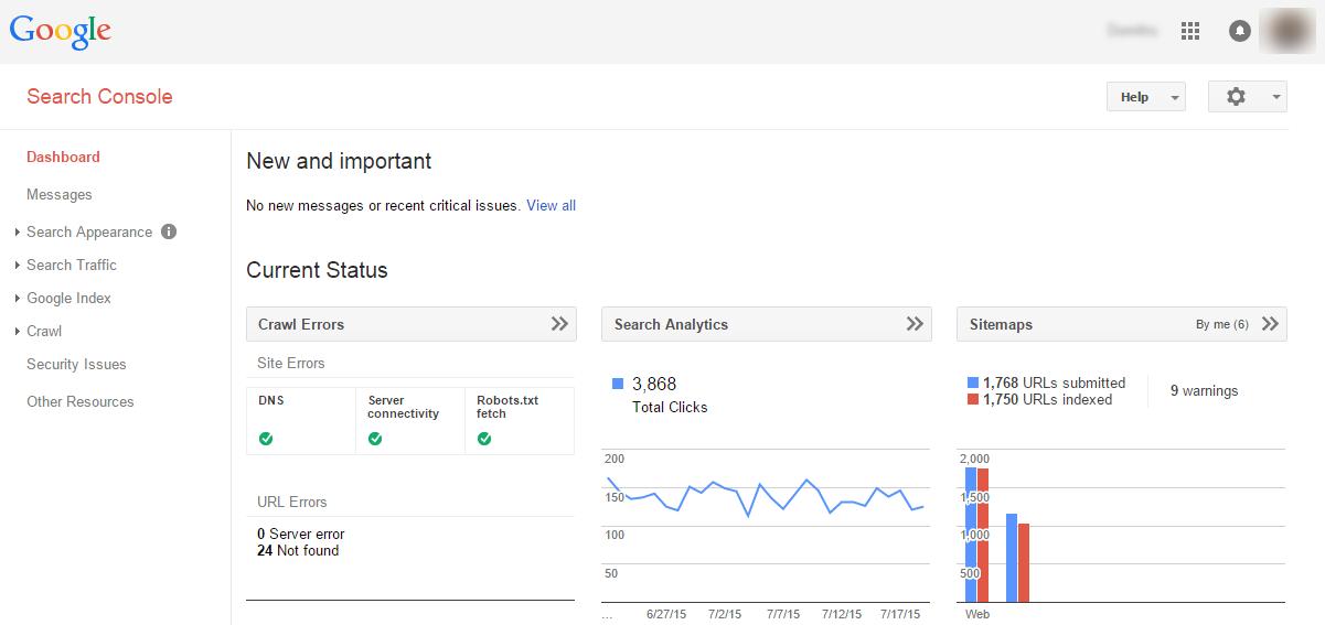 Google Search Console Dashboard Screenshot