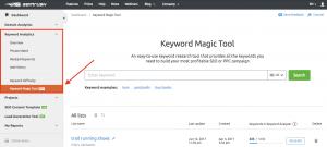 Screenshot of the SEMRUSH Keyword Magic Tool Interface