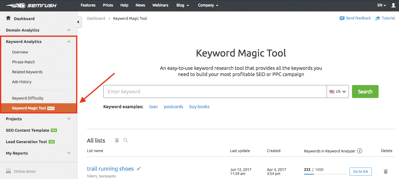 Screenshot of the SEMRUSH Keyword Magic Tool Interface